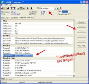 AVR Controllerboard RN-Mega8Plus Fusebits