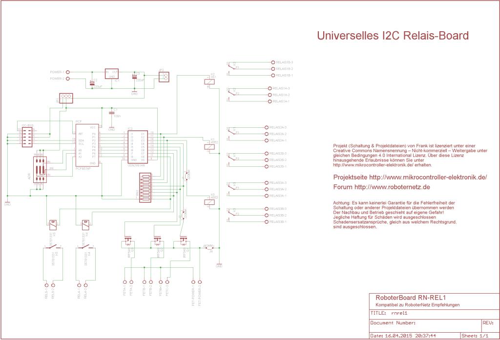 I2C Relais-Board Schaltplan