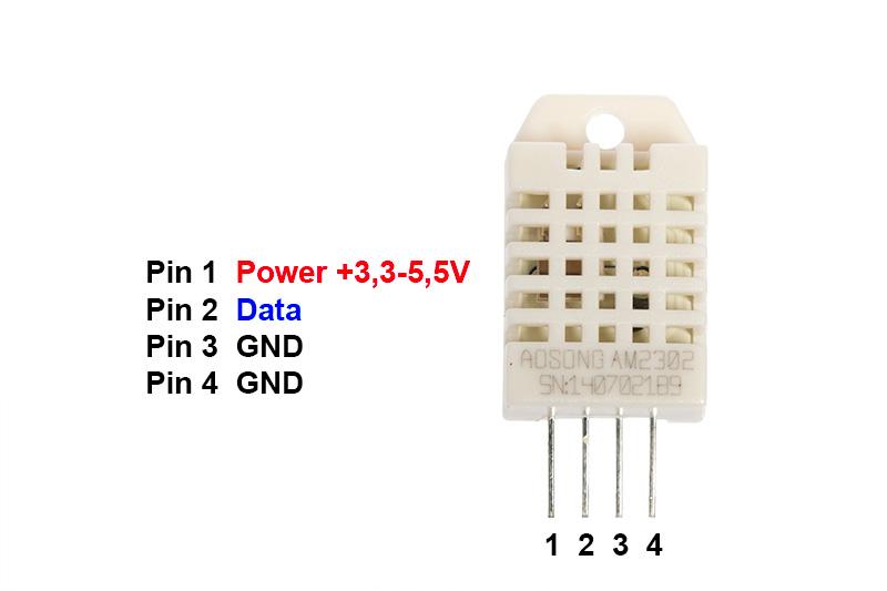 Pinbelegung DHT22 Luftfeuchte Sensor