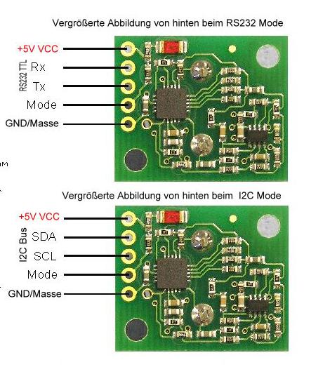 Pinbelegung Ultraschallsensor SRF02