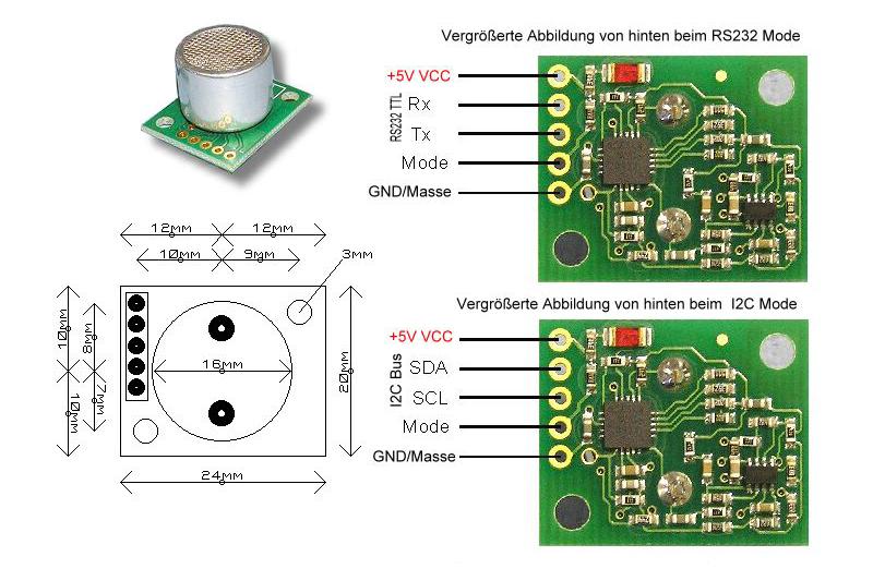 Ultraschallsensor mit I2C-Bus und RS232 Schnittstelle