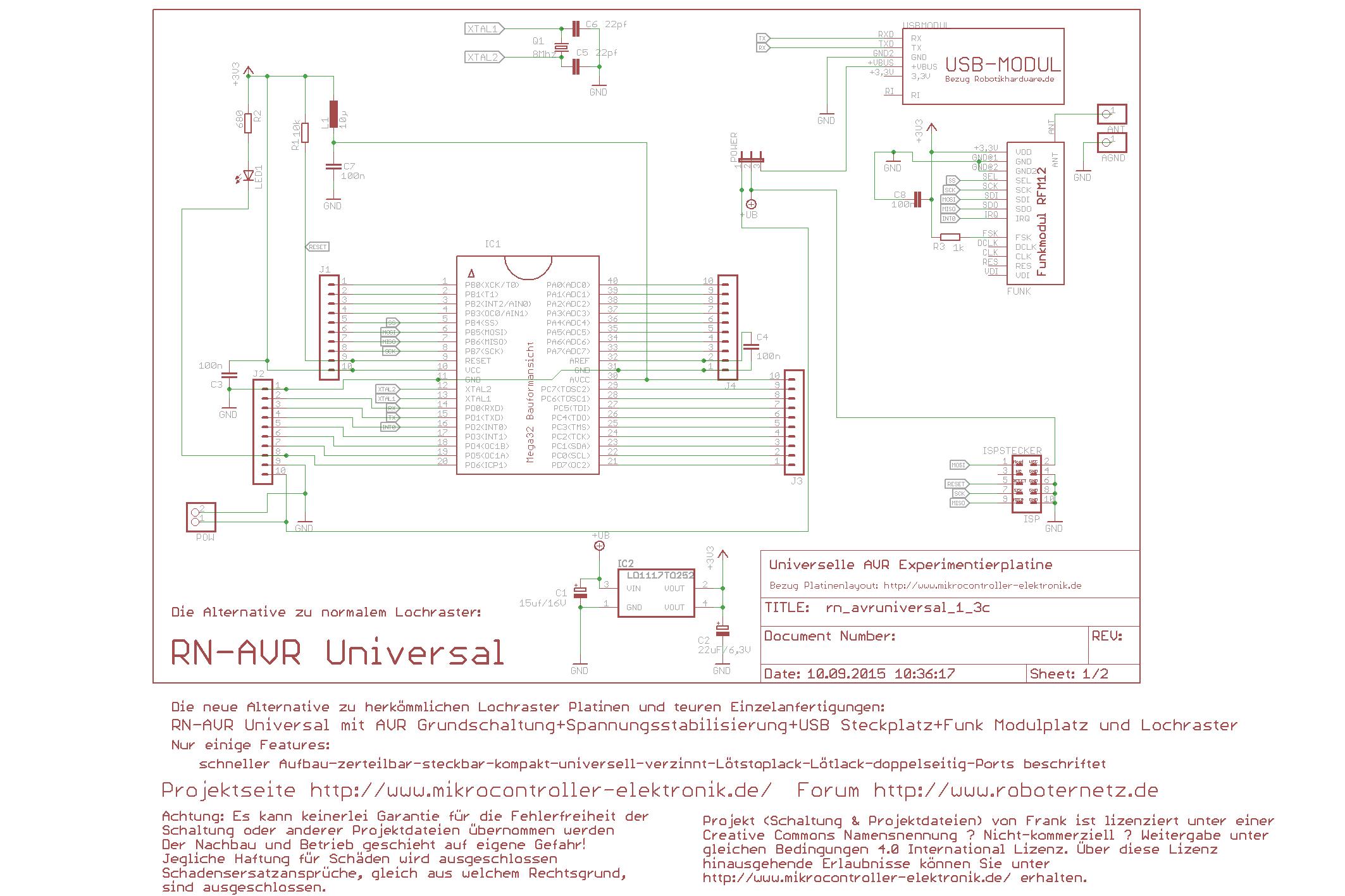 Universelles Experimentierplatine AVR Universal für AT ...