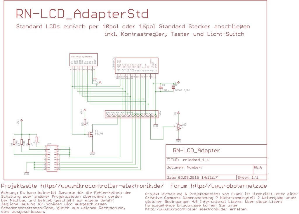 Schaltplan LCD an Mikrocontroller anschliessen