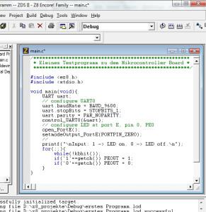 Programmierung des Mikrocontroller Zilog Z8 Encore SchaltungMikrocontroller Zilog Z8 Encore Schaltung