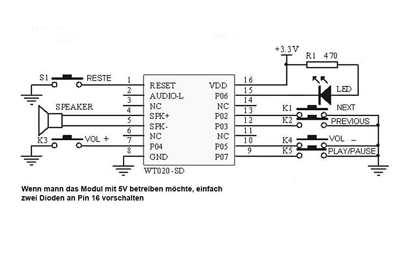 WTV020 Sprachausgabe per Tastendruck oder mittels Mikrocontroller