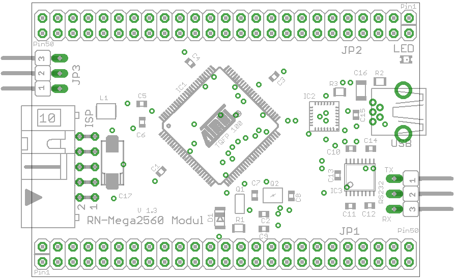 Bestückungsplan Mini Controllerboard mit Atmel ATmega2560 und USB