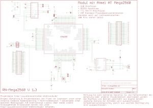 Schaltbild Mini Controllerboard mit Atmel ATmega2560 und USB