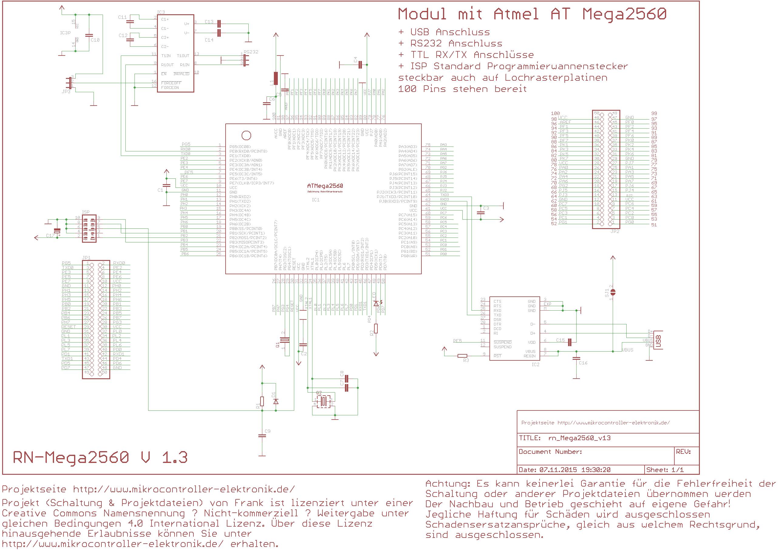 Kompaktes ATmega2560 Controllerboard mit USBMikrocontroller ...