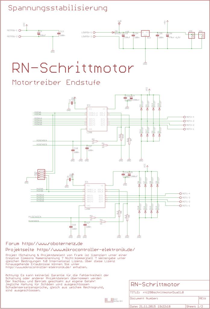 Schaltplan Programmierbare Schrittmotor Ansteuerung RN-Schrittmotor