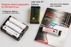 Passende Batterien für Projekt RN-MikroFunk