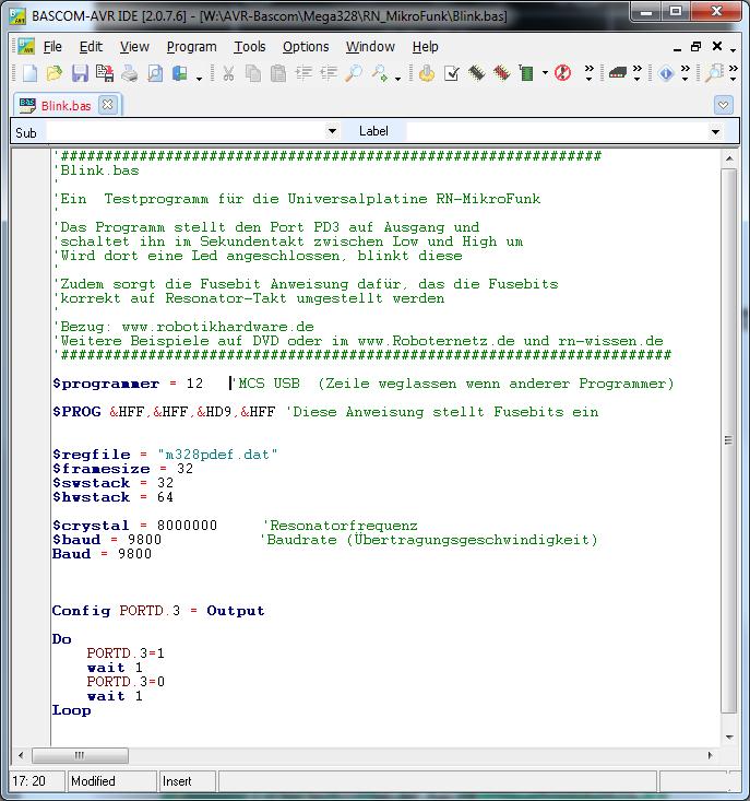 Bascom Beispielprogramm für RN-Mikrofunk: Programm_Blink