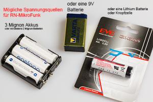 Mögliche Batterien für Mikrocontroller Modul