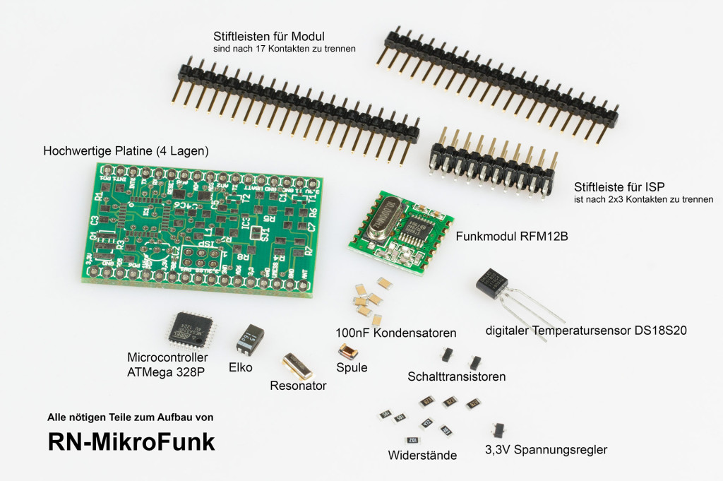 Bauteile für Mini AVR Microcontroller Modul mit Funkmodul