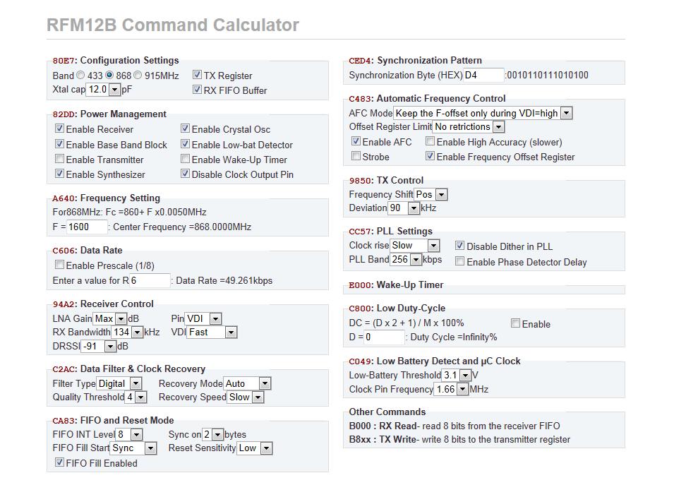 Online Konfiguration von RFM12 und RFM12b