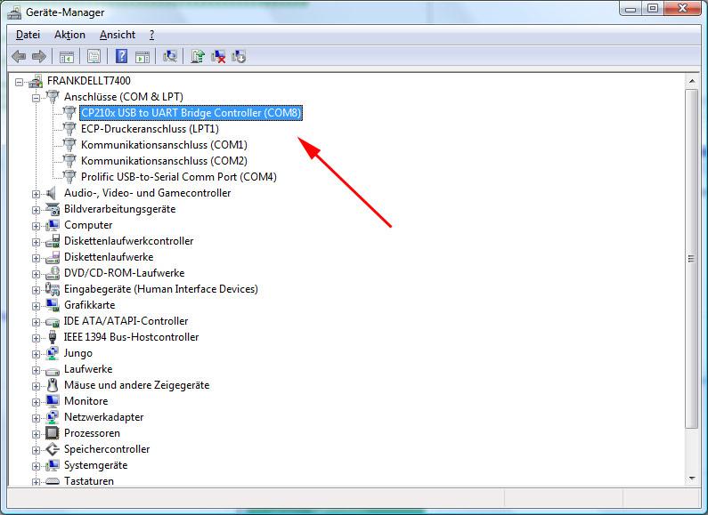 Der virtuelle COM-Port wird im Gerätemanager angezeigt