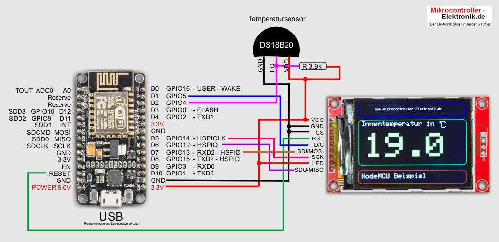 NodeMCU Qvga-Display DS18B20 Schaltung